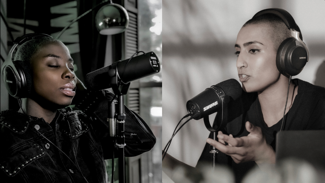 two women with SM7B and MV7 mics